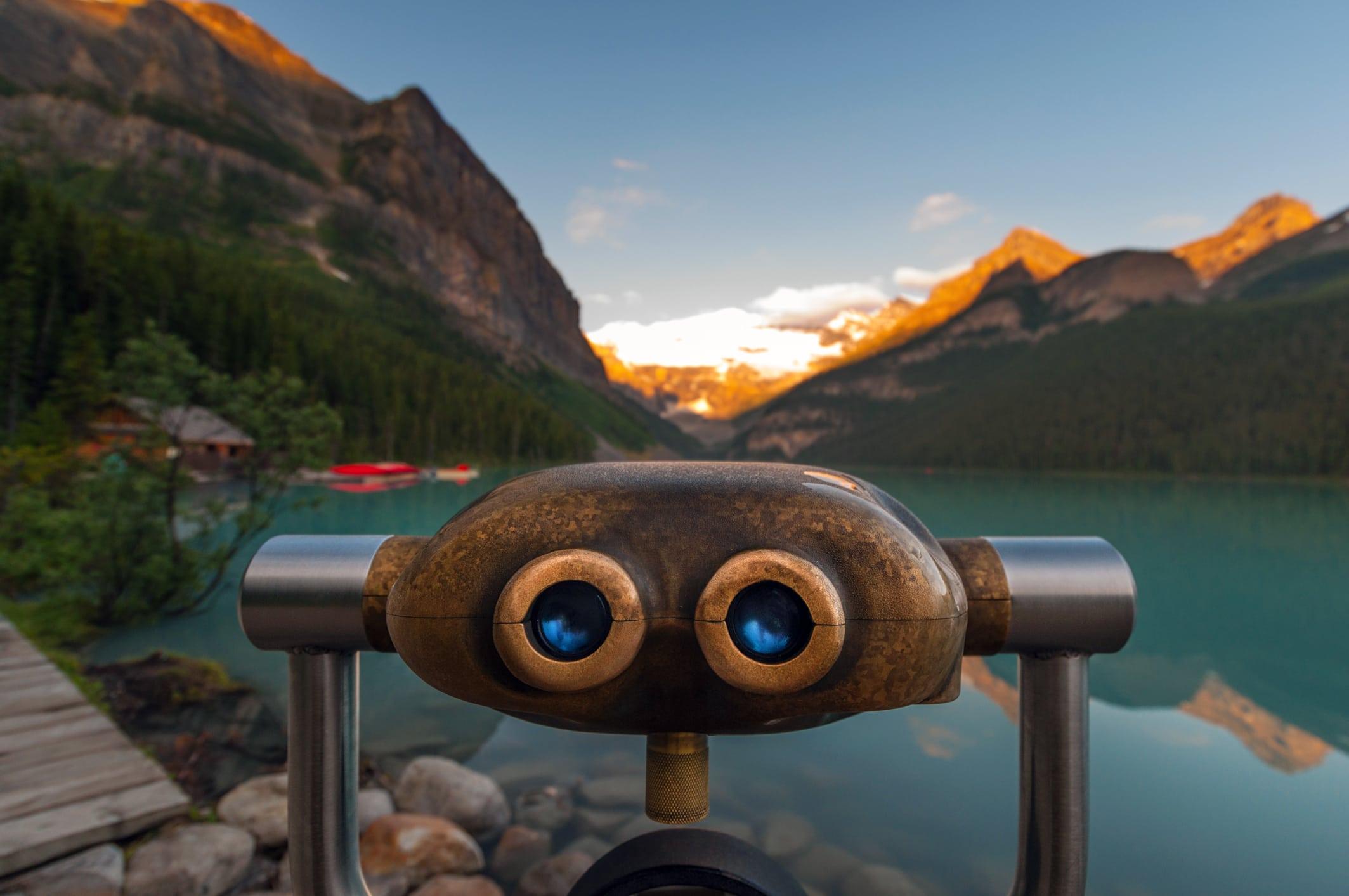 Lake Louise and binoculars
